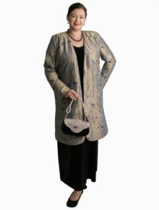 Dragon Lady Coat Taupe Embroidered and Jeweled Silk (Plus-Size)