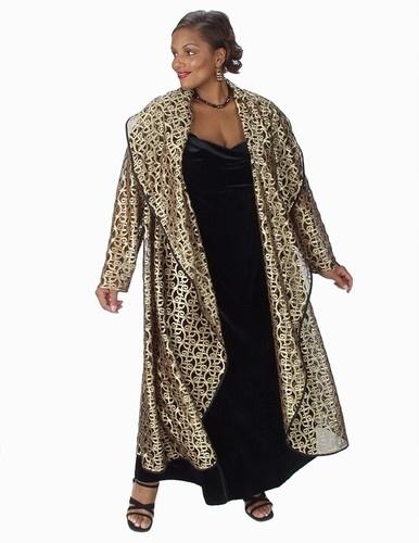 Drape Lapel Coat Gold Metallic Lace (Plus-Size)