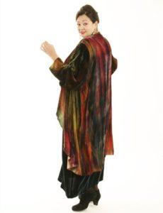 Drape Lapel Coat Handpainted French Silk Velvet (Plus-Size)