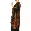 Plus Size Designer Drape Coat Handpainted French Silk Velvet Red Black Gold Green