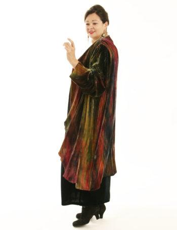 Plus Size Designer Drape Coat Handpainted French Silk Velvet Red Black Gold Green