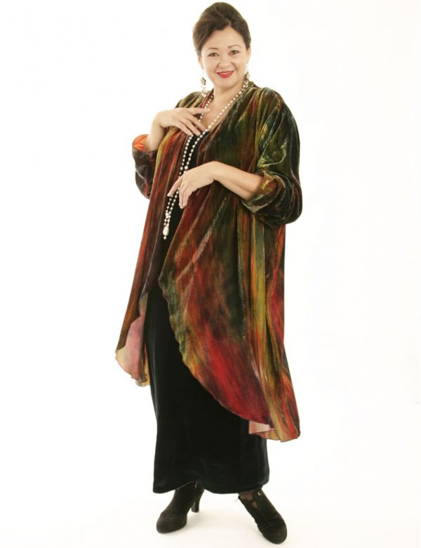 Drape Lapel Coat Handpainted French Silk Velvet (Plus-Size)