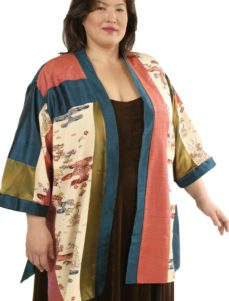 Tunic Length Kimono Teal Coral Bronze Wearable Art 1361  (Plus-Size)