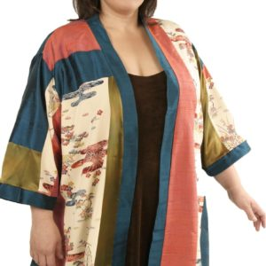 Plus Size Special Occasion Kimono Jacket Silk Artwear Teal Coral Bronze