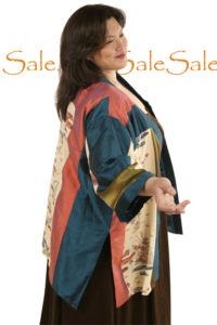 Tunic Length Kimono Teal Coral Bronze Wearable Art 1361  (Plus-Size)