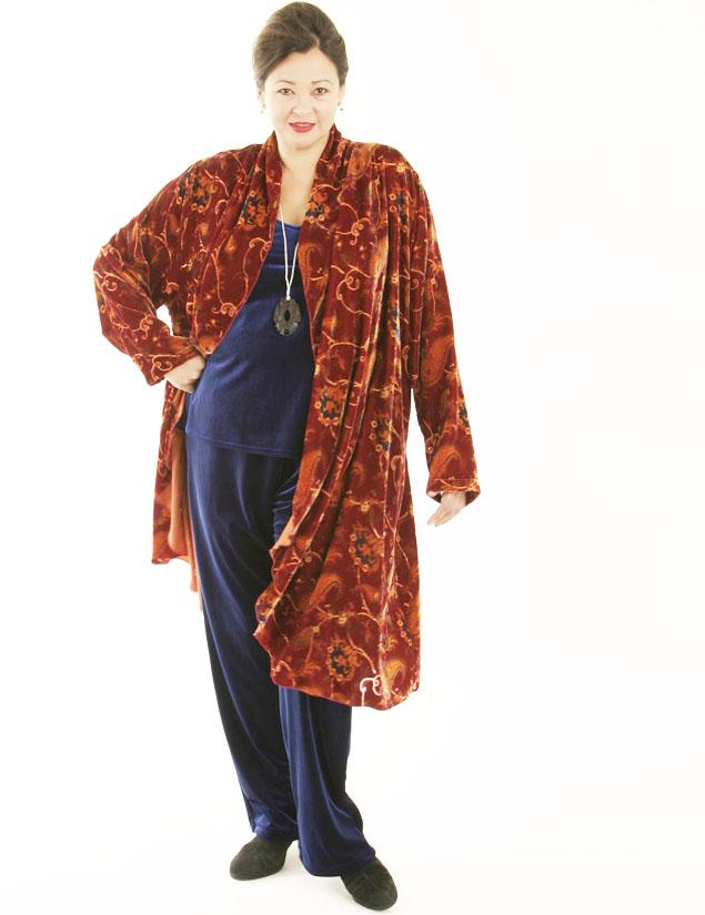 Drape Lapel Coat in Ginger Paisley Silk Velvet (Plus-Size)