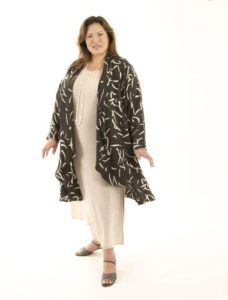 Drape Lapel Coat Gray Abstract Italian Rayon (Plus-Size)