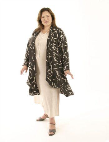 Drape Lapel Coat Gray Abstract Italian Rayon (Plus-Size)