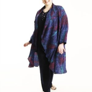 Drape Lapel Coat in Handpainted Navy Silk Crepe Size 22/24