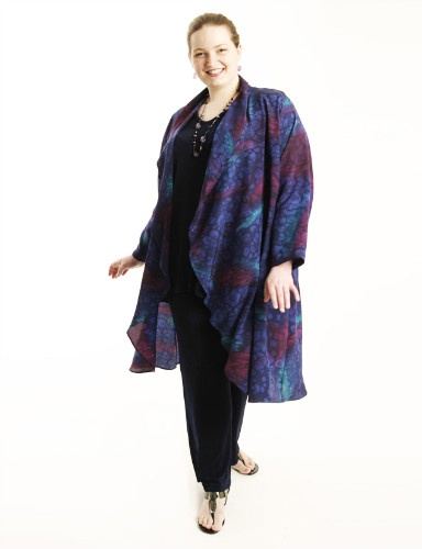 Drape Lapel Coat in Handpainted Navy Silk Crepe Size 22/24