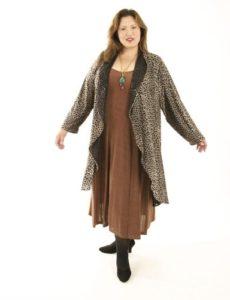 Drape Lapel Coat in Taupe Leopard Size 18/20