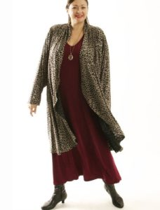 Drape Lapel Coat in Taupe Leopard Size 18/20