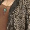 Plus Size Designer Drape Coat Leopard Print Taupe Black