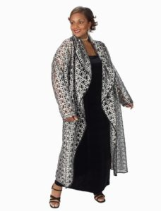 Drape Lapel Coat Silver Metallic Lace (Plus-Size)