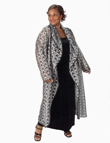 Drape Lapel Coat Silver Metallic Lace (Plus-Size)