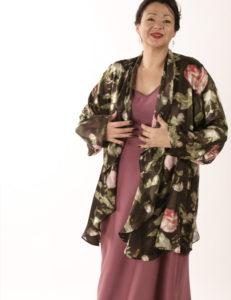 Drape Lapel Jacket English Rose Damask Silk Charmeuse Size 22/24