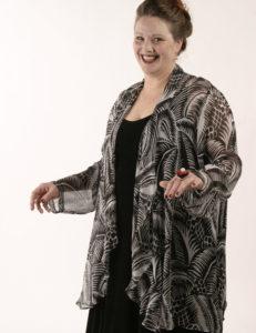 Drape Lapel Jacket BF Dufy Black & White Palms Size 22/24