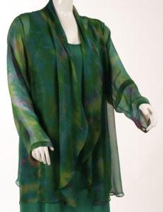 Drape Lapel Jacket BF Monet Handpainted Mousseline de Soie (Plus-Size)