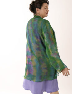 Drape Lapel Jacket BF Monet Handpainted Mousseline de Soie (Plus-Size)