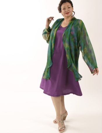 Plus Size Mother of Bride Drape Jacket Handpainted Silk Emerald