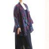 Plus Size Mother of Bride Drape Jacket Silk Navy Burgundy