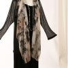 Plus Size Mother of Bride Drape Jacket Silk Leopard Peach Silver