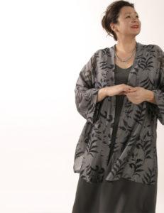 Tunic Length Kimono Jacket Charcoal Burnout Silk Georgette (Plus-Size)