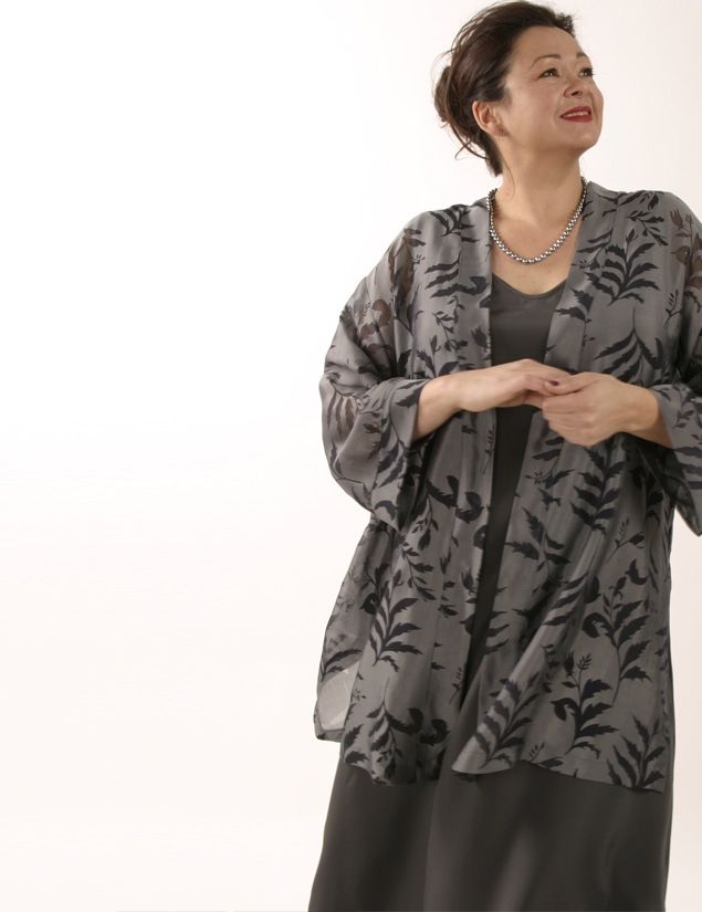 Plus Size Designer Mother of Bride Jacket Silk Floral Gray