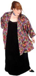 Tunic-Length Kimono Jacket Italian Abstract (Plus-Size)