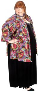 Tunic-Length Kimono Jacket Italian Abstract (Plus-Size)