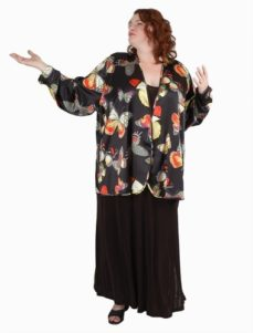 Fingertip Bolero in Butterflies on Black Silk Charmeuse (Plus-Size)