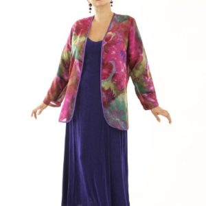 Plus Size Mother of Bride Jacket Silk Print Fuschia Green