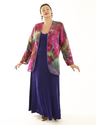 Fingertip Bolero in Carnivale Silk Georgette (Plus-Size)