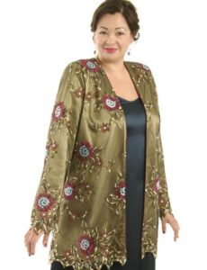 Plus Size Mother of the Bride Gabi Jacket Bronze Beaded Lace