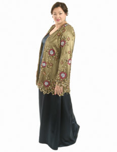 Plus Size Mother of the Bride Gabi Jacket Bronze Beaded Lace