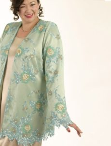 Gabrielle Jacket in Jade, Aqua, Ecru Embroidered/Beaded Leaf-Edged Mesh Sizes 14/16, 18/20, 26/28