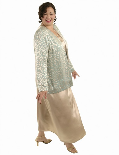 Plus Size Mother of Bride Jacket Silk Devore Aqua Champagne