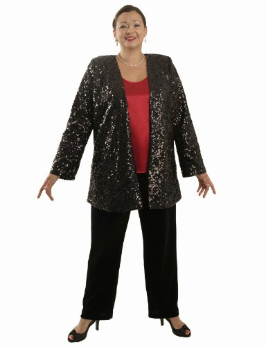 Gabrielle Jacket in Black All Over Sequins (Plus-Size)