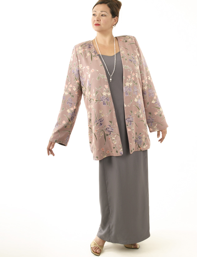 Plus Size Mother of Bride Jacket Floral Silk Rose Lilac