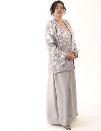 Plus Size Mother of Bride Jacket Silk Diamante Silver Lavender