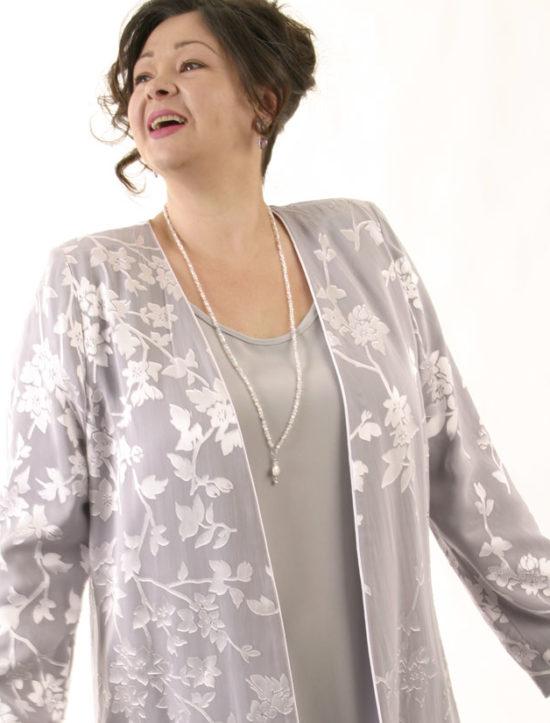 Mother Bride Formal Jacket Silk Diamante Silver Lavender Sizes 14 - 32