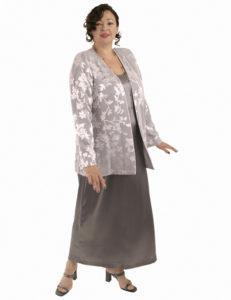 Plus Size Mother of Bride Jacket Silk Diamante Silver Lavender