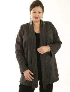 Hana Jacket Charcoal Pinstripe (Plus-Size)