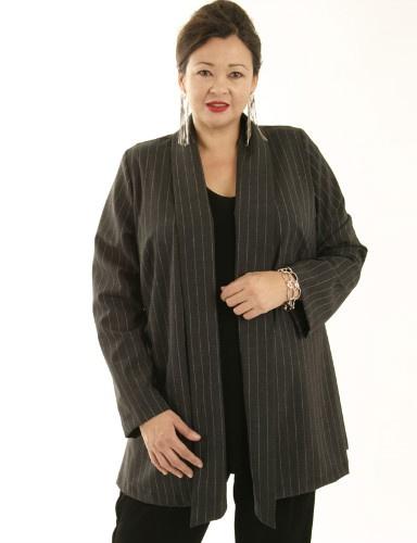Hana Jacket Charcoal Pinstripe (Plus-Size)
