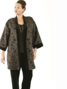 Tunic Length Kimono Black and Gold Brocade (Plus-Size)