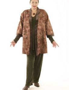 Tunic-Length Kimono Jacket Mushroom Embroidered Silk (Plus-Size)