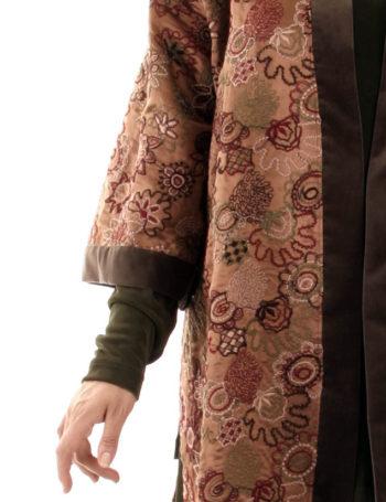 Plus Size Designer Kimono Jacket Embroidered Silk Italian Caramel Taupe
