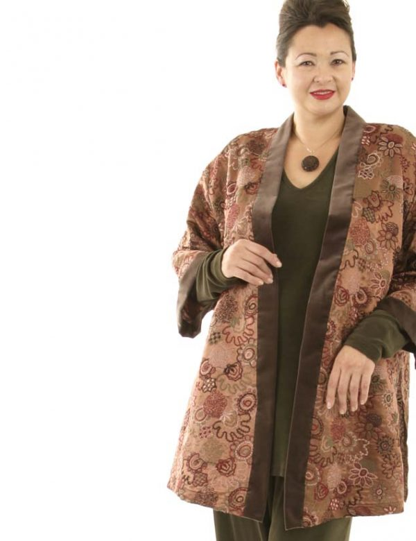 Plus Size Designer Kimono Jacket Embroidered Silk Italian Caramel Taupe