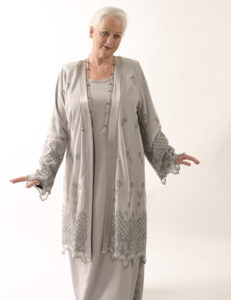 Lacy Coat in Silver Embroidered and Jeweled Mesh (Plus-Size)