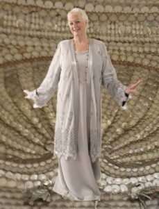 Formal Lacy Coat in Silver Embroidered and Jeweled Mesh (Plus-Size)